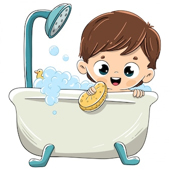 Child bathing in the bathtub with foam