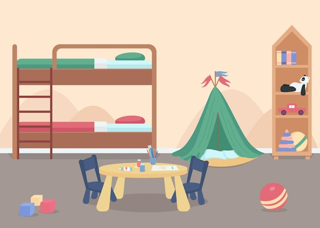 Child bedroom for male toddler flat color. kids room with toys. home furniture for comfortable lifestyle. kindergarten room 2d cartoon characters with bunk bed