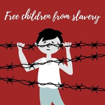철조망 뒤에 있는 어린이 노예 무역 어린이 아동 학대