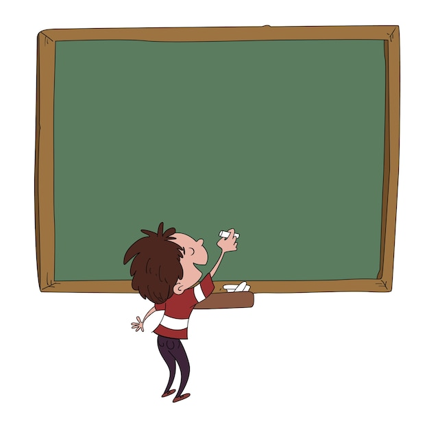 Child on a blackboard