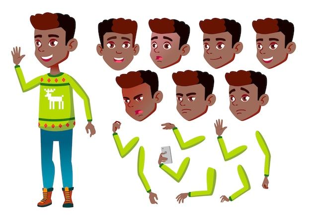 Child boy character. african. creation constructor for animation. face emotions, hands.