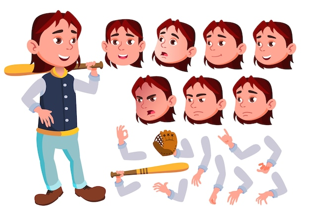 Child boy character. european. creation constructor for animation. face emotions, hands.
