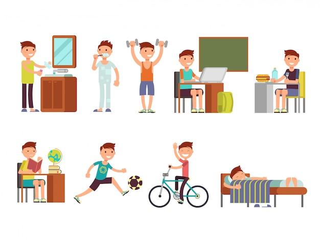 Child boy daily routine vector set
