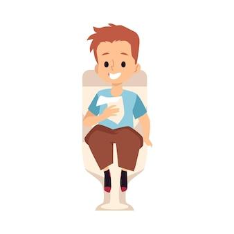 Ребенок мальчик сидит на унитазе с куском туалетной бумаги, плоские векторные иллюстрации, изолированные на белой поверхности
