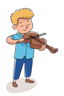격리된 서 있는 음악가 악기와 함께 연주하는 어린 소년 바이올리니스트. 기술을 향상시키는 바이올린 연주 스틱을 가진 작은 아이. 학교 콘서트