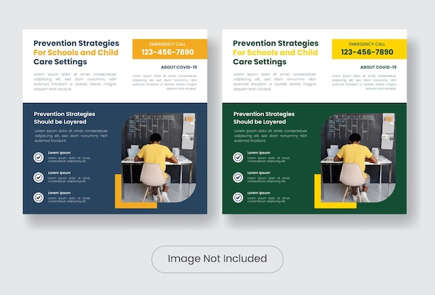 Child care covid 19 instagram post banner template set