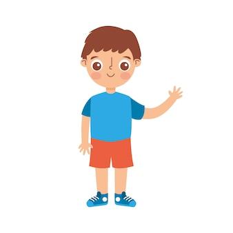 白い背景の上に孤立した彼の手を上に振っている子漫画。ベクトルイラスト