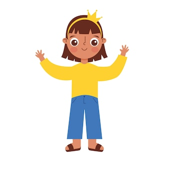 Child cartoon waving with yours hands up isolated over white background. vector illustration