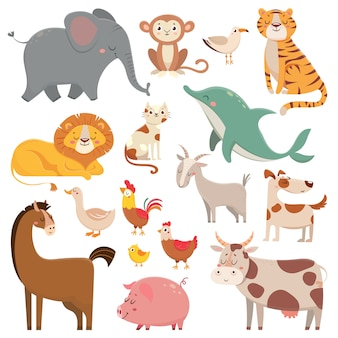 Child cartoons elephant, gull, dolphin, wild animal. pet, farm and jungle animals vector cartoon illustration collection