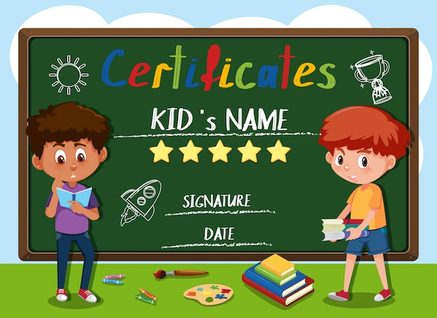 Child certificate infront of blackboard