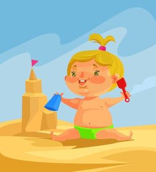 子供のキャラクターは砂の城を建てます。
