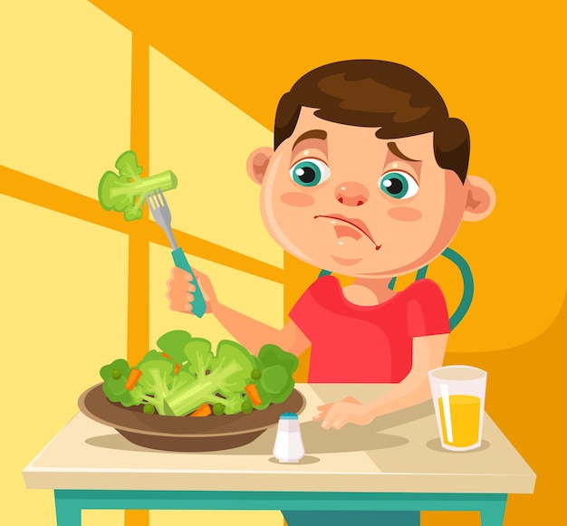 Child character does not want to eat broccoli