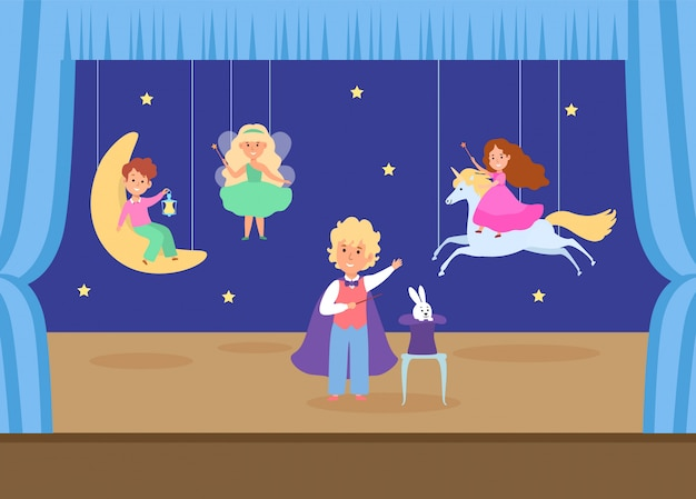 Child character play young school theatre   illustration. children magic performance, boy conjures girl unicorn female fairy.