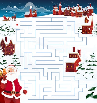 子供のクリスマスの迷路、サンタ、トナカイ、町の迷路ゲームテンプレート。贈り物でいっぱいの袋、鹿とそり、家の装飾された花輪とトウヒで覆われた雪の漫画
