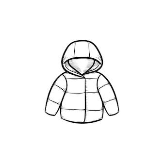Детское пальто рисованной наброски каракули значок. теплое детское пальто или куртка для детей и новорожденных векторные иллюстрации эскиз для печати, интернета, мобильных устройств и инфографики, изолированных на белом фоне.