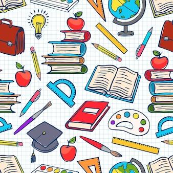 学用品と子供色の背景。グローブ、ペンキとブラシ、本。手描きイラスト