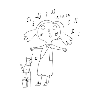 Child coloring the girl sings the cat sings children sing