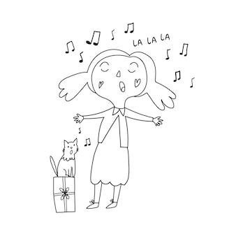 Ребенок раскраска девочка поет кот поет дети поют