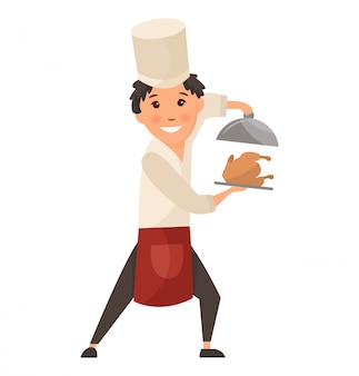 Child in a cook cap holding dish with food.