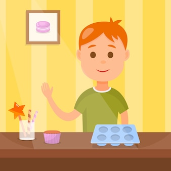 Child cooking tasty cupcakes vector illustration