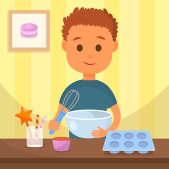Child cooking tasty dessert vector illustration