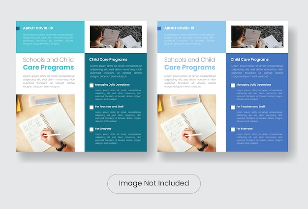 Child covid 19 information programs instagram post banner template set