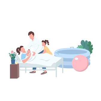 出産フラットカラーフェイスレスキャラクター。陣痛のためのラマーズ法。新生児のいる家族。ウェブグラフィックデザインとアニメーションのための自宅での代替出産孤立漫画イラスト