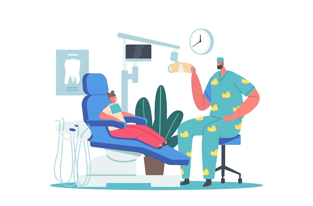Child at dentist office. little girl patient at dental clinic for kids, male doctor in funny medic robe sitting at chair