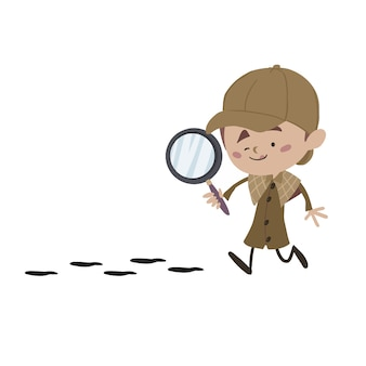 Child detective behind the track with a magnifying glass