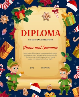 Child diploma template with christmas elfs, gifts and sweets. school or kindergarten certificate, child education achievement diploma. holiday gifts, holly leaves and gingerbread cookie cartoon vector