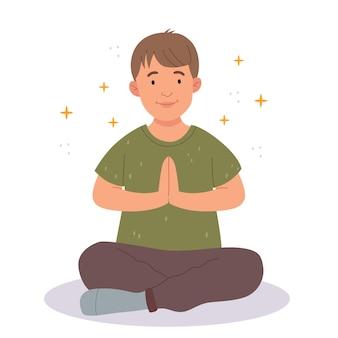 The child does yogathe little boy does exercisethe boy is praying or meditatingillustration for c
