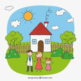 Bambino disegno di una famiglia felice