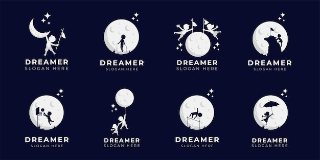 Child dream logo design illustration collection - dreamer logo