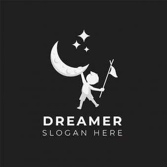 Child dream logo design illustration template