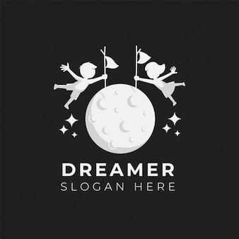子供の夢のロゴデザインイラストテンプレート