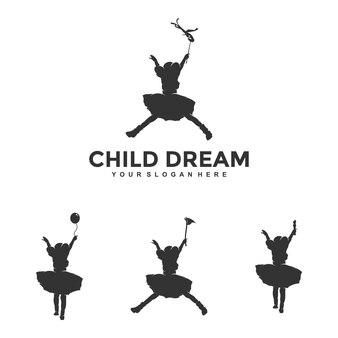 Детская мечта дизайн логотипа шаблон иллюстрации вектор