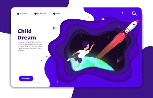 子供の夢のコンセプトです。宇宙旅行の少年と地球とスペースシャトルのロケットが夜空のランディングページにある子供の想像力