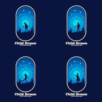 Детские мечты логотип проектирует вектор концепции, символ логотипа образования детей, дети достигают звезды