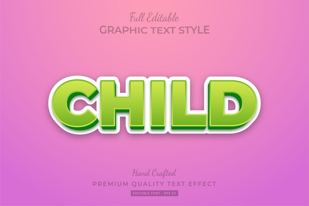 Child editable 3d text style effect