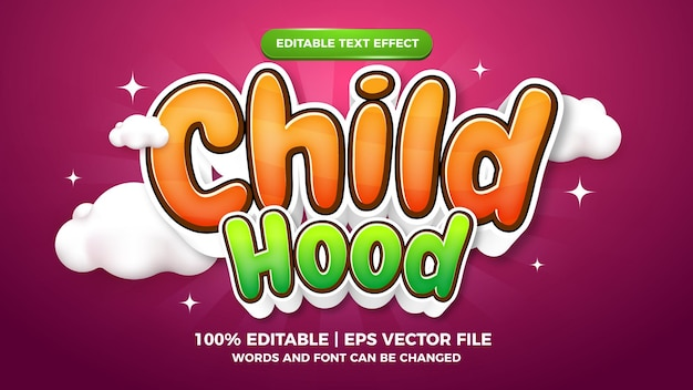 Child editable illustrator text effect Premium Vector
