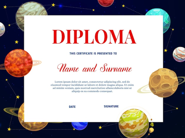 Child education diploma or certificate template with background frame of planets and stars of alien space. school graduation diploma, achievement certificate and competition winner award design