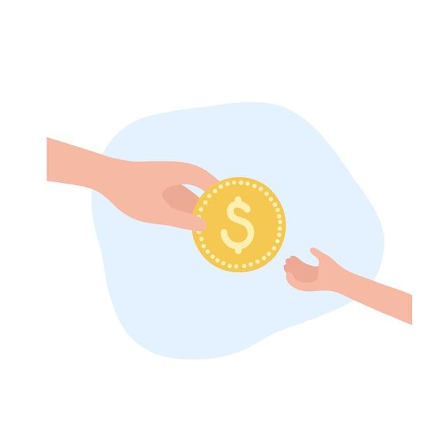 Символ образования финансов ребенка. инвестиции, банк планирования бюджета и символ монеты.