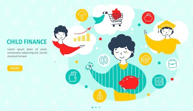 Целевая страница руководства по финансам для детей в плоском дизайне