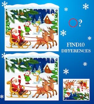 아이는 크리스마스 캐릭터와 차이점 미로를 찾습니다. 순록, 북극곰, 눈사람 어린이 만화 벡터와 함께 산타를 타고 썰매. 작업을 비교하는 그림 세부 정보가 있는 어린이 겨울 방학 게임