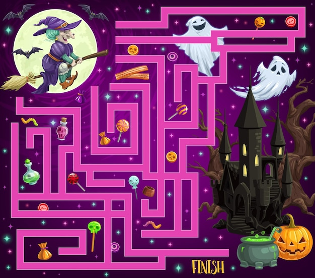 Child find path halloween maze with monsters and candy. children vector labyrinth game, kids search way activity with cartoon halloween jack o lantern, scary castle and lollypop, witch flying on broom