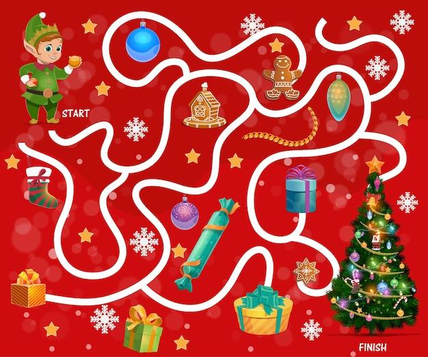 아이는 크리스마스 선물과 과자로 미로를 찾습니다. 어린이 미로 게임, 어린이 검색 경로 활동. 엘프, 진저 쿠키와 크리스마스 트리 장식품, 스타킹, 눈송이 만화 벡터