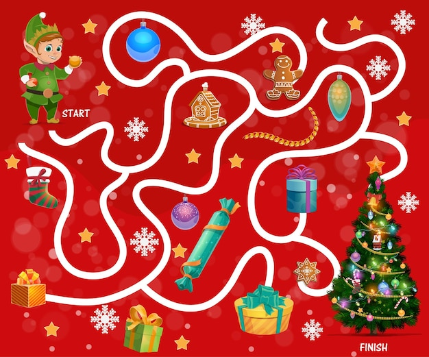 Child find way maze with christmas gifts and sweets. kids labyrinth game, children search path activity. elf, gingerbread cookies and christmas tree ornaments, stockings, snowflakes cartoon vector