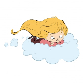 Child flying with cloud