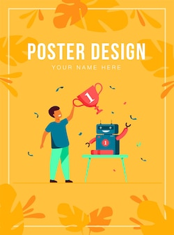 Child getting award for robot poster template