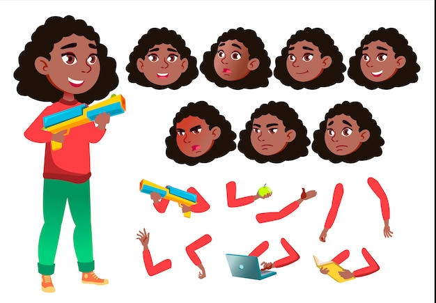 Child girl character. african. creation constructor for animation. face emotions, hands.